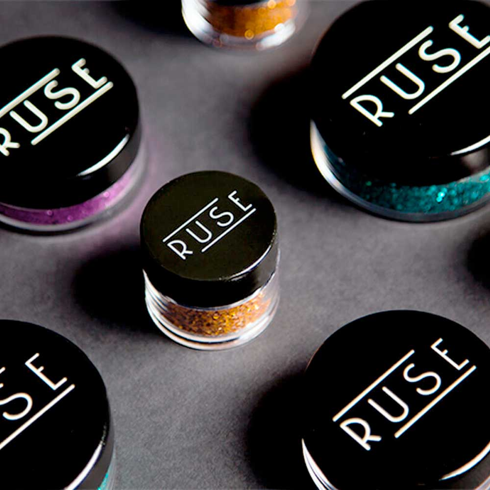 Round Makeup containers with rub on transfer